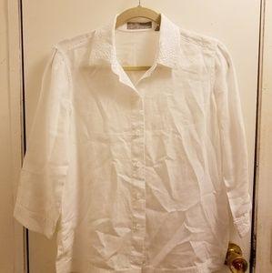 Liz Claiborne Size S White Linen Blouse